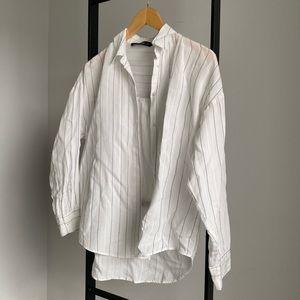Zara Pinstripe Cotton Button Down